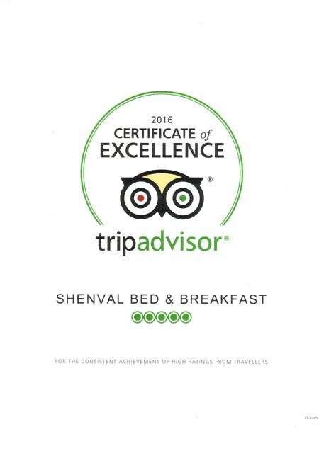 Shenval B&B TripAdvisor  Service Excellence award winner